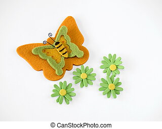 Felt butterfly and flowers, white background
