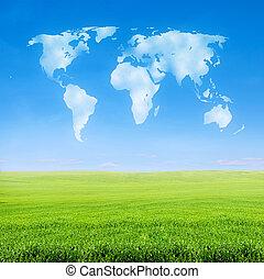 felt græs, skyer, verden, formet