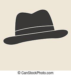 Felt hat. - Vintage man s felt hat label. Design template...