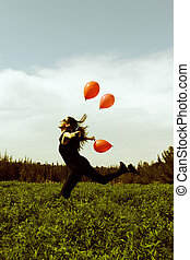 felt, kvinde, balloner, unge, rød