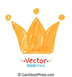 Felt pen childlike drawing of crown. Vector illustration. isolated.