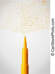 Felt pen close-up with diagrams