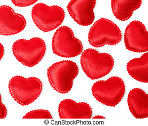 Felt red hearts isolated on a white background