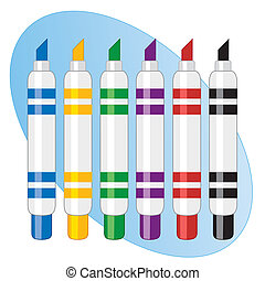 Felt tip marker pens for back to school, home, office, scrapbook, diy projects. Isolated on white. EPS8 compatible.