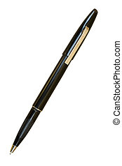 Automatic Felt Tip Black Pen; Isolated, clipping path