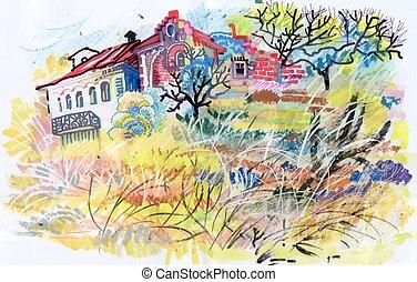 Felt-tip pen autumn rural landscape. - Felt-tip pen autumn...