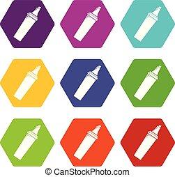 Felt tip pen icons set 9 vector - Felt tip pen icons 9 set...