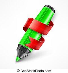 Felt tip pen ribbon. Vector illustration.