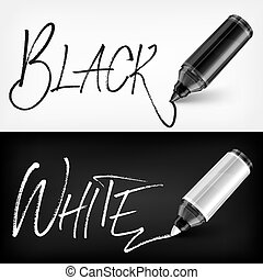Felt tip pen scribbled type black white. Vector illustration.