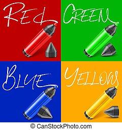 Felt tip pen scribbled type on color. Vector illustration.