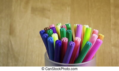 Felt-tip pens in a support,