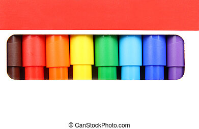 felt-tip pens of different colors in hole