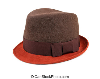 felt trilby/fedora hat isolated on a white background
