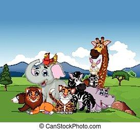 feltevő, karikatúra, állat