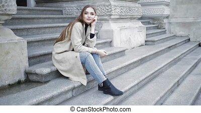 feltevő, lépcsősor, női