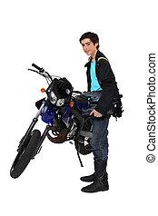 feltevő, tizenéves, motorkerékpár