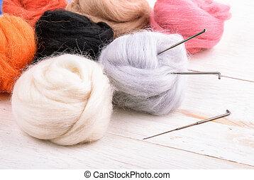 felting, aiguille, haut, kit, fin, laine