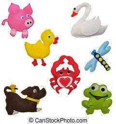 feltro, brinquedos, animais