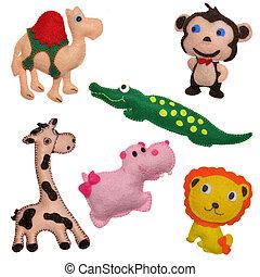feltro, brinquedos, animais safari