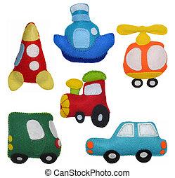 feltro, brinquedos, veículos