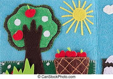 feltro, melo, con, frutte, su, uno, fondo, di, cielo blu, e, sun., mano, cucito, su, felt.