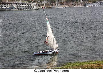 Felucca Nile Luxor Egypt - a Felucca on the Nile in Luxor,...
