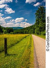 felvidékek, tanya, nyugat, mező, potomac, v, vidéki, mentén, út