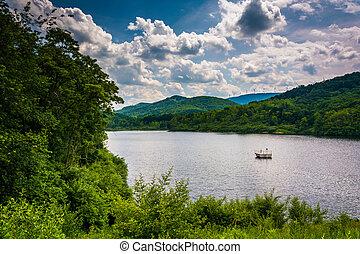 felvidékek, virginia., nyugat, tó, potomac, vidéki