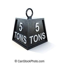 fem, 5, tons, vikt, isolerat, vita, bakgrund., 3, framförande