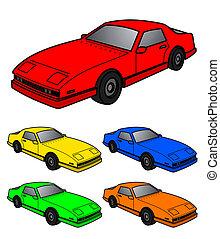 fem, färg, bilar