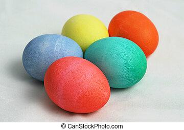 fem, färgad, påsk