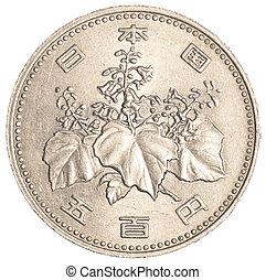 fem hundra, japansk, yen, mynt