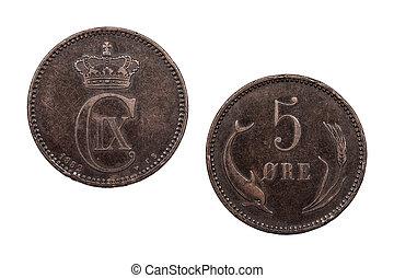 fem, malm, mynt, danmark, 1882
