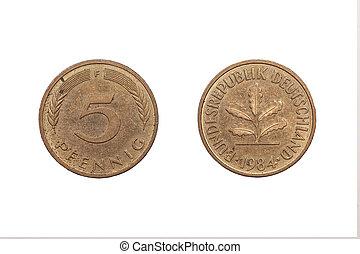 fem pfennig peng, från, tyskland, 1984