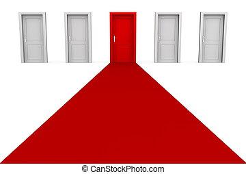 fem, -, röd, dörrar, matta