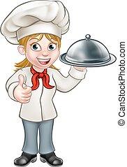 Femal Woman Chef Cartoon Character