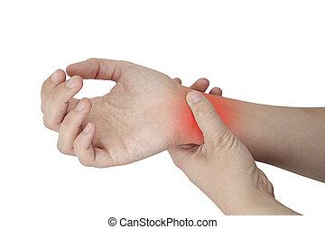 wrist Injury - femal wrist Injury isolated on white ...
