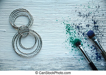Female accessories   on white wood table background