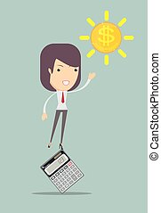 Female accountant manages money