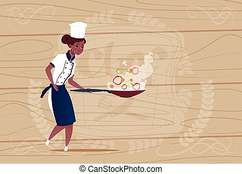 Female African American Chef Cook Holding Frying Pan Cartoon...