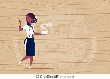 Female African American Chef Cook Tasting Soup Cartoon Chief In Restaurant Uniform Over Wooden Textured Background