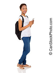 female african american college student using mobile phone