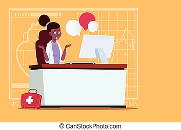 Female African American Doctor Sitting At Computer Online Consultation Medical Clinics Worker Hospital