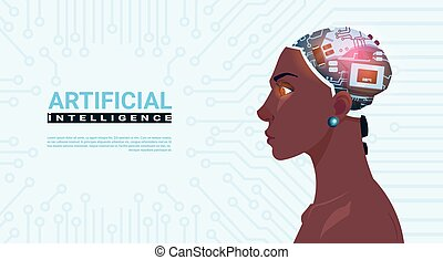 Female African American Head With Modern Cyborg Brain Over Circuit Motherboard Background Artificial Intelligence Concept