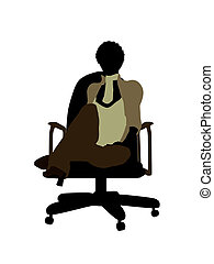 Female African American Office Illustration Silhouette -...
