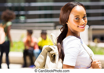 female african american university student outdoors