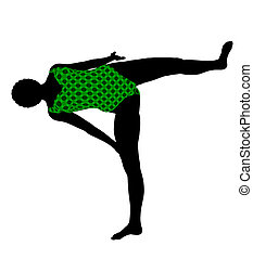 Female African American Yoga Illustration Silhouette -...