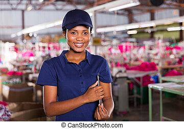 female african clothing factory supervisor