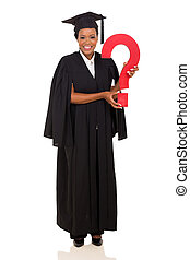 female african college graduate with question mark