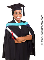 female african graduate isolated on white background